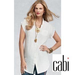 CAbi white Linen Tunic size large